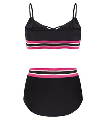 Teens Elastic Stripe Print Bikini New Look
