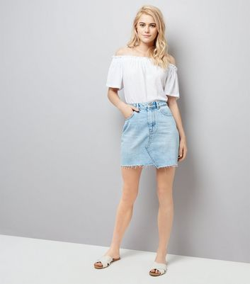 Blue Asymmetric Hem Denim Skirt New Look
