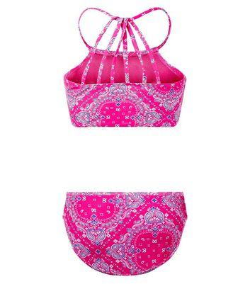 Teens Pink Paisley Print High Neck Bikini New Look