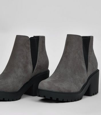 Teens Grey Suedette Chunky Chelsea Boots New Look