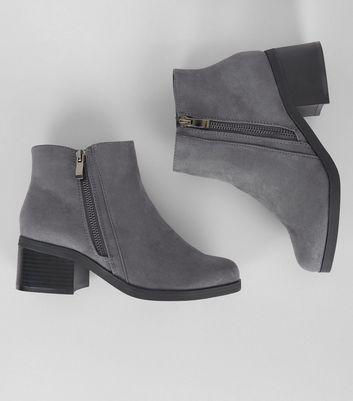 Teens Grey Suedette Zip Side Boots New Look
