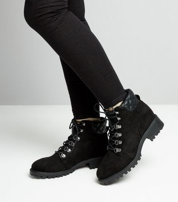 Teens Black Quilted Panel Worker Boots New Look