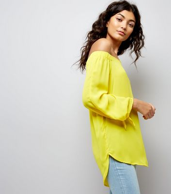 Yellow Tie Sleeve Bardot Neck Top New Look