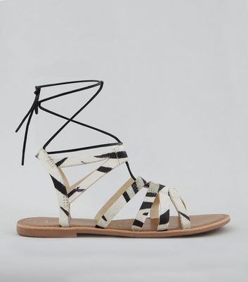 Wide Fit White Textured Leather Ghillie Sandals New Look