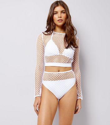 White Mesh High Waist Bikini Bottoms New Look