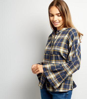Noisy May Check Bell Sleeve Shirt New Look