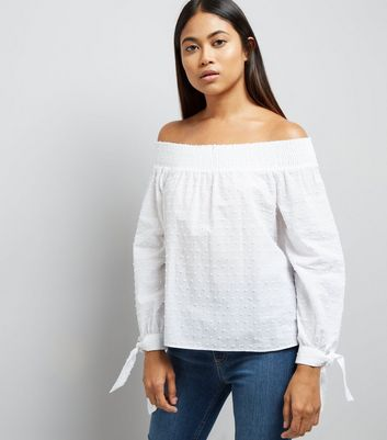 Petite White Textured Bardot Neck Top New Look