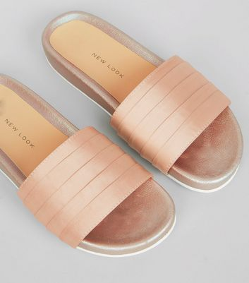 Teens Pink Satin Sliders New Look