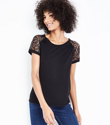 JDY Black Lace Sleeve T-Shirt New Look