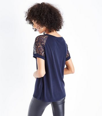JDY Navy Lace Sleeve Top New Look