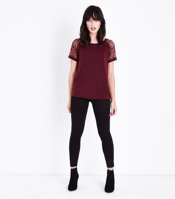 JDY Burgundy Lace Sleeve T-Shirt New Look