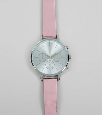 Pink Metallic Strap Watch New Look