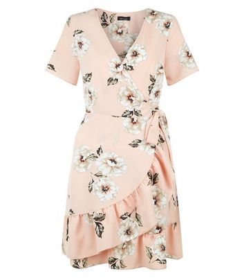 Pink Floral Print Wrap Front Skater Dress New Look
