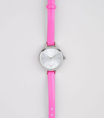 Bright Pink Skinny Strap Watch New Look