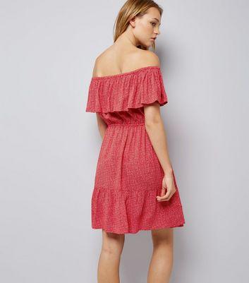 Red Spot Print Frill Trim Bardot Neck Dress New Look