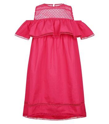 Pink Crochet Yoke Cold Shoulder Dress New Look