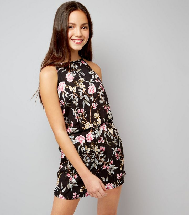 e8ce2695ad Teens Black Floral Print High Neck Playsuit