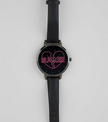 Black Broken Heart Sucker Slogan Watch New Look