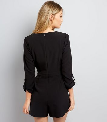 Black Wrap Front D Ring Belt Playsuit New Look