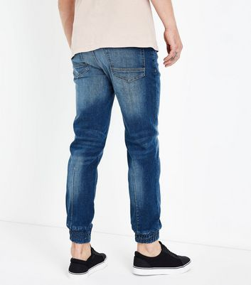 Blue Distressed Jogger Jeans New Look