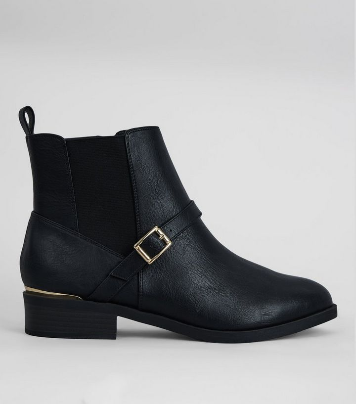 34d4cad47c1139 Wide Fit Black Buckle Ankle Boots