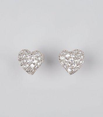 Silver Cubic Zirconia Heart Stud Earrings New Look