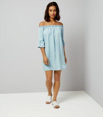 Petite Blue Bell Sleeve Bardot Neck Dress New Look