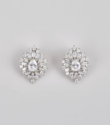 Silver Cubic Zirconia Crystal Teardrop Stud Earrings New Look