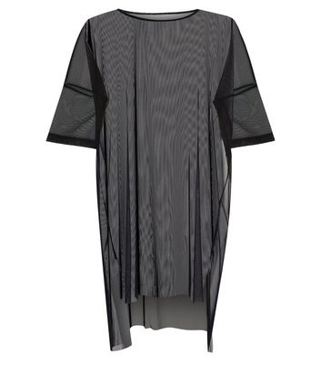 Noisy May Black Mesh Half Sleeve Longline Top New Look