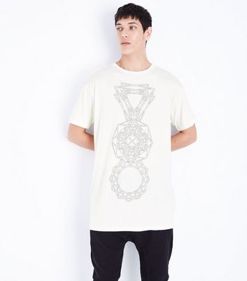 White Geo Print Longline T-Shirt New Look