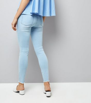 Light Blue Ripped High Waisted Skinny Jeans New Look