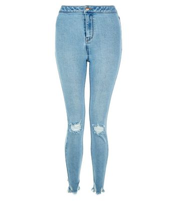 Blue Ripped Knee Frayed Hem Skinny Hallie Jeans New Look