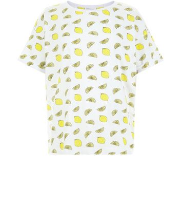 Teens White Lemon Print T-Shirt New Look