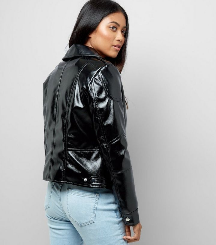 low price sale ever popular discover latest trends Petite Black High Shine Leather-Look Biker Jacket Add to Saved Items Remove  from Saved Items