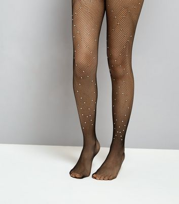 Black Diamante Fishnet Tights New Look