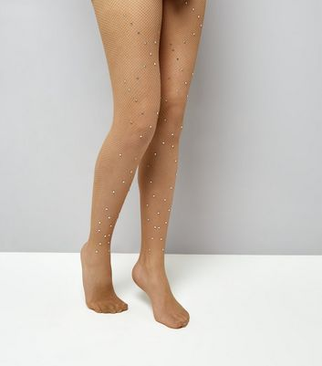Nude Diamante Fishnet Tights New Look