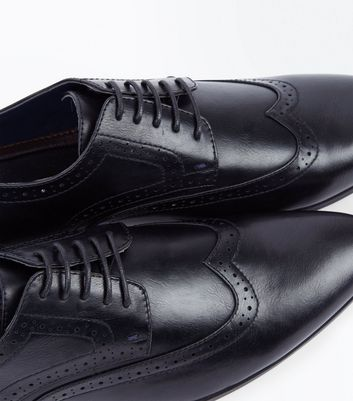 Black Perforated Lace Up Brogues New Look