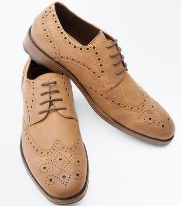 Tan Cleated Sole Brogues New Look