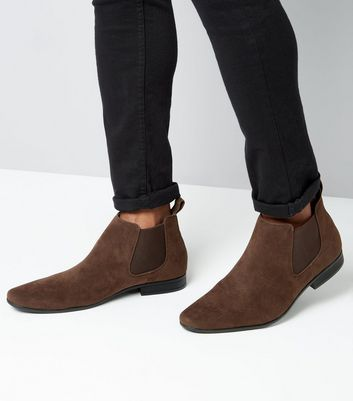 Brown Suedette Pointed Toe Chelsea Boots New Look