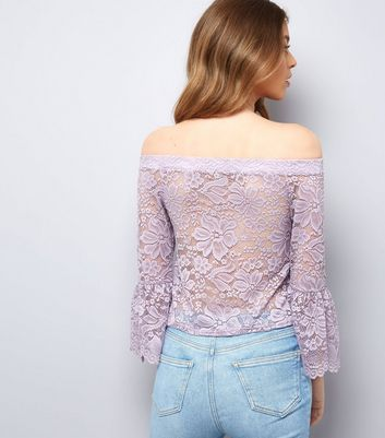 Purple Lace Bell Sleeve Bardot Top New Look