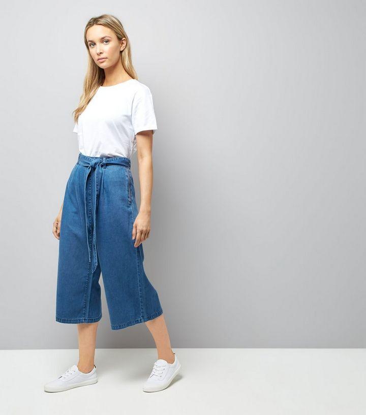 e2b0182660 Blue Denim Wide Leg Tie Waist Culottes | New Look