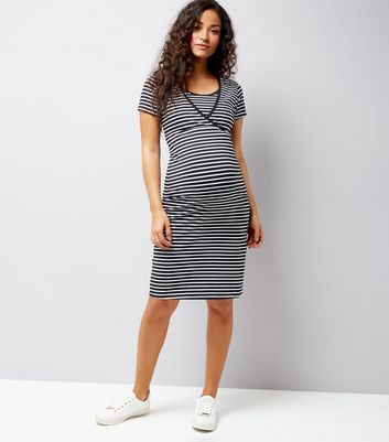 Maternity Black Stripe Nursing T-Shirt Dress New Look