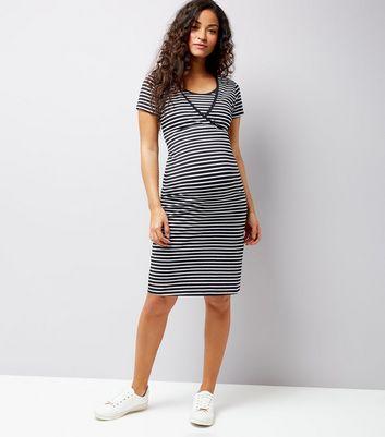 Maternity Black Stripe Nursing T-Shirt Dress New Look