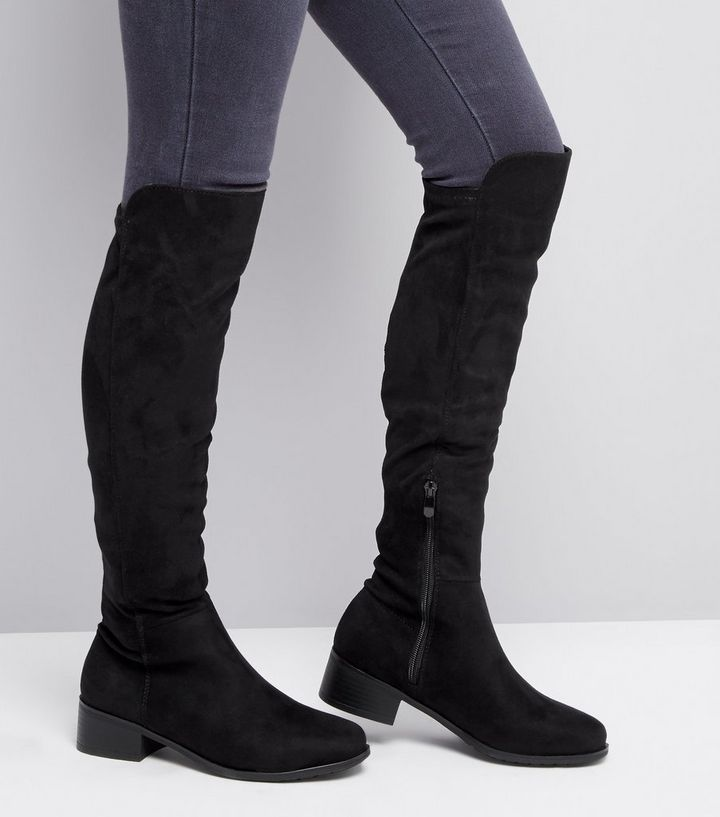 discount nice shoes fresh styles Teens Black Suedette Knee High Boots Add to Saved Items Remove from Saved  Items
