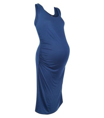 Maternity Blue Jersey Sleeveless Dress New Look