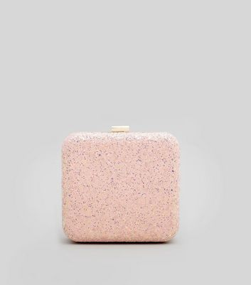 Shell Pink Glitter Box Clutch New Look