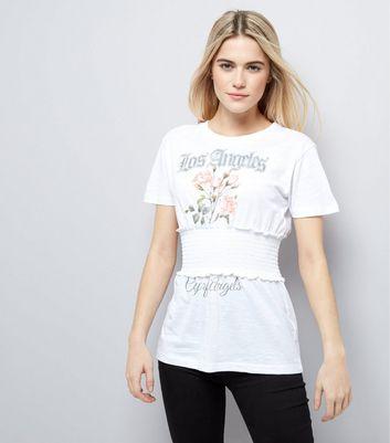 White Rose Print Shirred Waist T-Shirt New Look