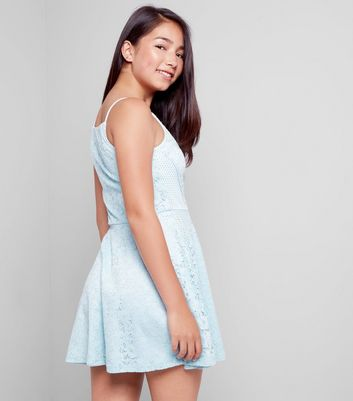 Pale Blue Mesh Panel Lace Dress New Look