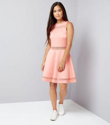 Teens Orange Mesh Insert Skater Dress New Look