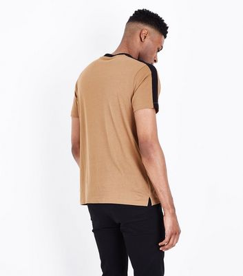 Camel Contrast Stripe T-Shirt New Look